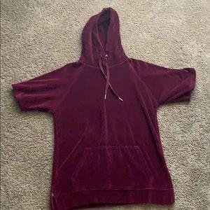 Burgundy velvet short sleeve hoodie